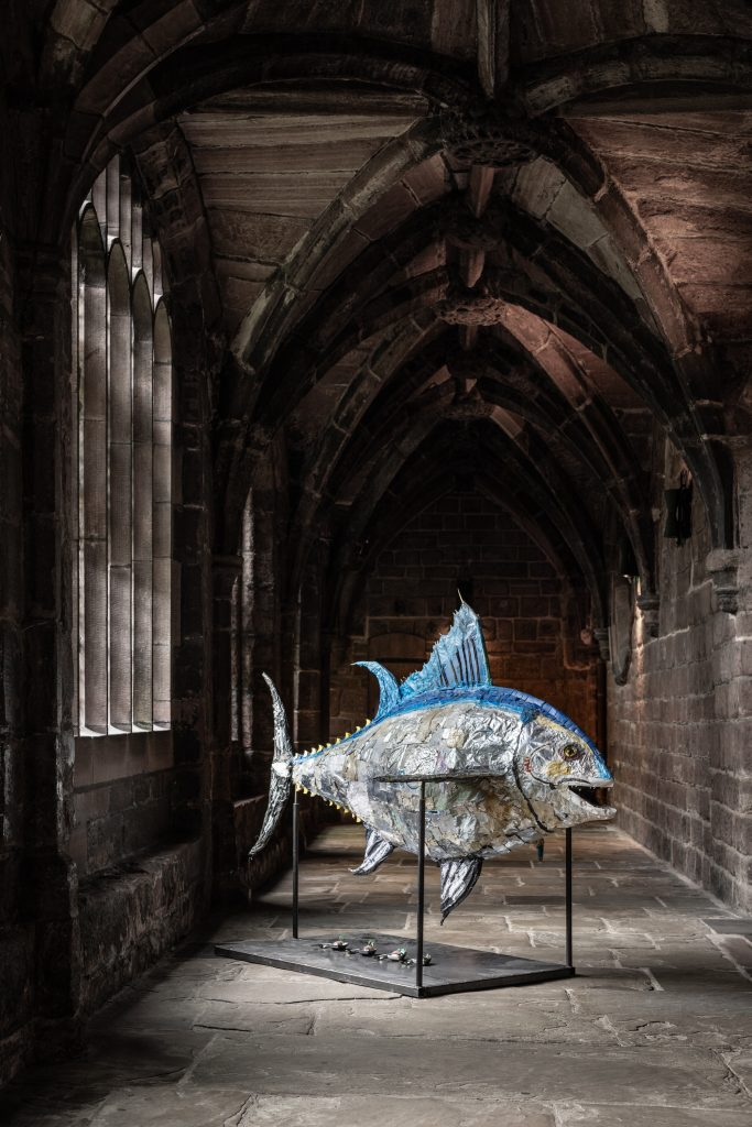 Atlantic Bluefin Tuna sculpture made from plastic collected from the beach by artist Jacha Potgieter